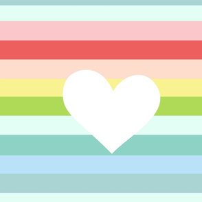 Rainbow Tropical Heart - LARGE-white