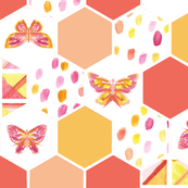 Butterfly Hexagon Quilt Top