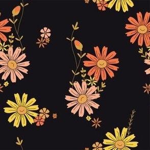 Dark Floral - yellow, pink