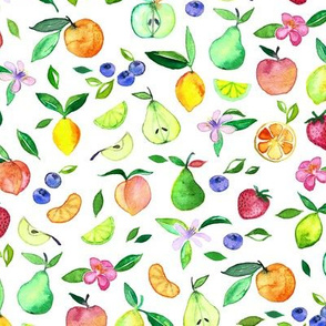 Fruit and Blossoms in Watercolor on White