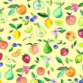 Fruit and Blossoms in Watercolor on Pale Yellow