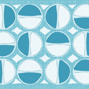 Mod Circles Tea Towel - Blue