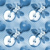 Watercolor Apples blue