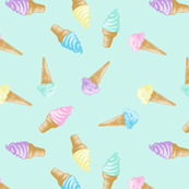 Ice Cream Cones Pastel Kawaii Green