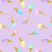 Ice Cream Cones Pastel Kawaii Purple