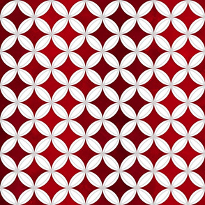Cheater Quilt Cathedral Windows Med White Red