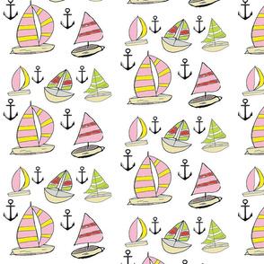 Sailing Anchors LARGE - pink crush