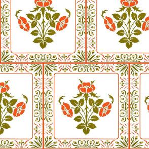 Art Nouveau Floral Woodcut
