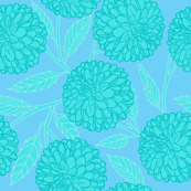 Turquoise Dahlias with Leaves