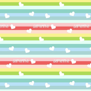 Rainbow Hearts Flutter 2 Personalized- Tropical