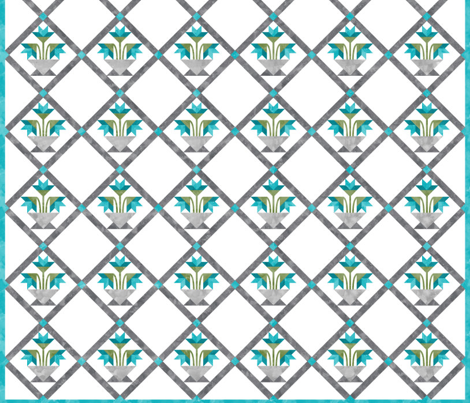 Cheater Quilt Basket Of Lilies Block 8in Aqua Grey Green