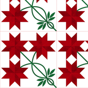 Cheater Quilt Double Peony Block 11in Red Green
