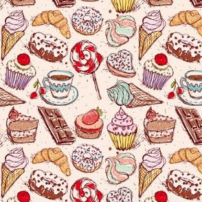 Hand drawn confectionery seamless pattern croissant Cupcake candy marshmallow ice cream cake donut and coffee.