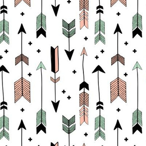 indian summer scandinavian style illustration arrows and geometric crosses gender neutral black and white coral mint