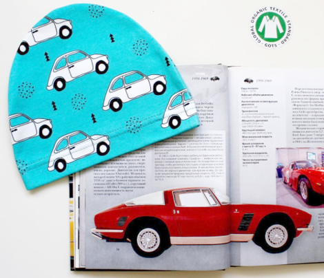 Old vintage oldtimer classic italian car scandinavian kids design black and white blue boys fabric