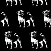 "Pug on Black - Large (3"")"