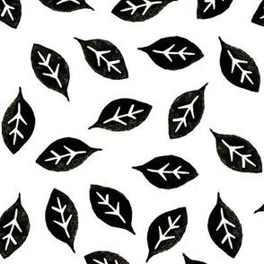 Dean's Block Print Leaves ~ Black