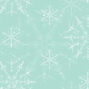 Space Snowflakes - Seaglass Green