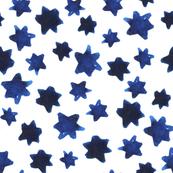 Watercolor Indigo Stars