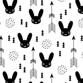Black and white kids bunny fabric with arros and geometric abstract scandinavian style details gender neutral