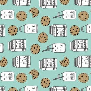 milk and cookies // mint food kids cute novelty railroad print