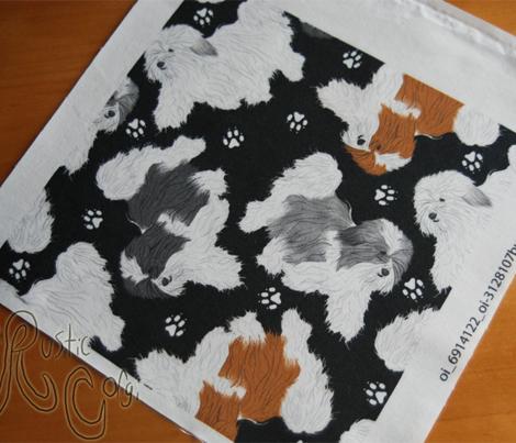 Trotting Havanese and paw prints - black