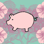 Pigs On Purple Background