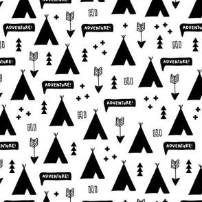 Cool black and white teepee camping scandinavian kids adventures text balloon fabric
