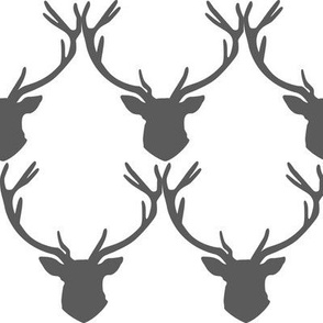 Grey Stag Head Deer Silhouette