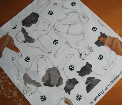 Trotting Akitas and paw prints - white