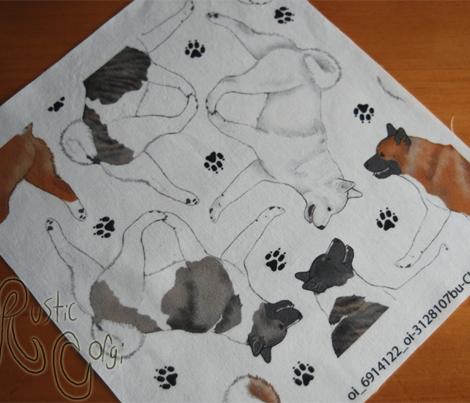 Trotting Akitas and paw prints - white