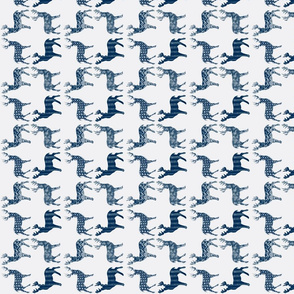 Navy Blue Meadow Deer on White SMALL SCALE-ed