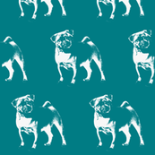 "Pug on Turquoise - Large (3"")"