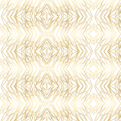 Gold Loops on White Gold Ogee Wallpaper