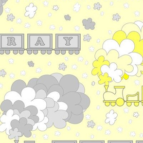 Baby's Color Alphabet Trains | yellow & gray | yellow background | large