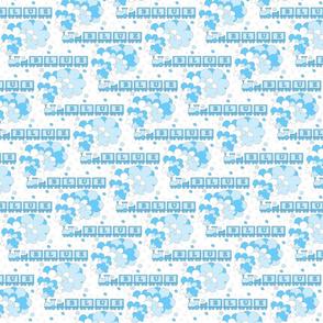 Baby's Color Alphabet Trains | blue | white background | medium