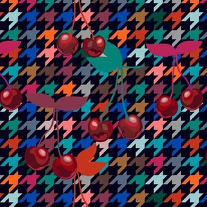 Cherries on hounds tooth background