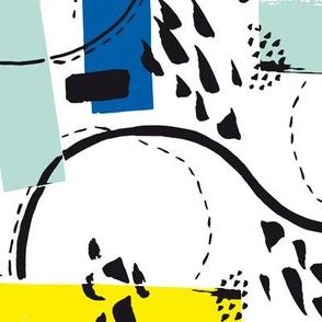 Eighties Pop Splashes - abstract blue