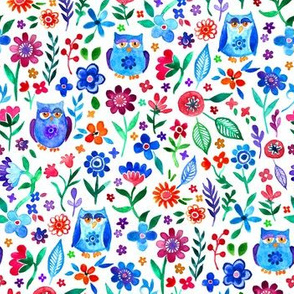 Colorful Tiny Owl Floral on Bright White