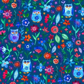 Colorful Tiny Owl Floral on Dark Teal Blue