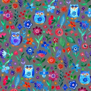 Colorful Tiny Owl Floral on Dark Grey