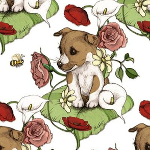 Puppy with flowers and bee on white