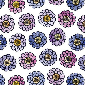 Zinnias, A Printed Painted Pattern