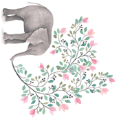 Pink Branch Floral Elephant - 90 degrees