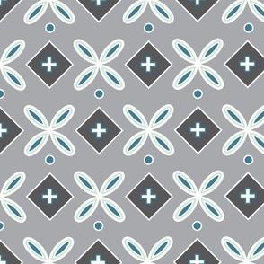 Geometric Flower Tile Gray