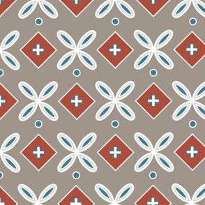 Geometric flower tile warm