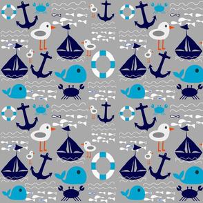 boat at sea grey