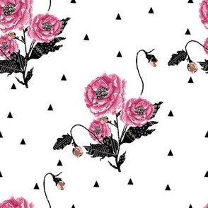 Triangles & Flowers - Black and Pink