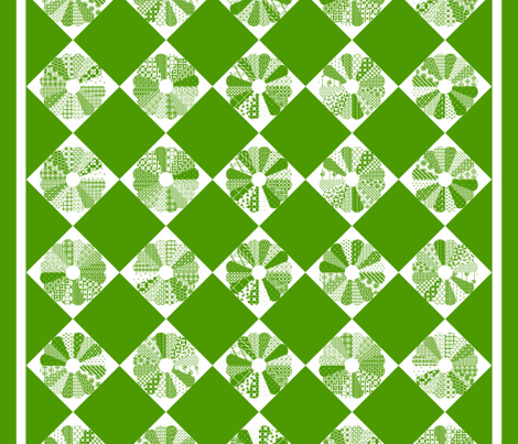Cheater Quilt Dresden Plate Block 8in Green White