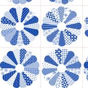 Cheater Quilt Dresden Plate Block 8in Blue White